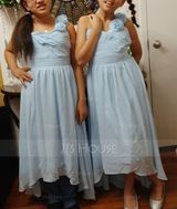 One-Shoulder Asymmetrical Chiffon Junior Bridesmaid Dress With Ruffle Flower(s) Bow(s) (268210213)