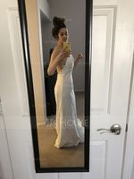 Trumpet/Mermaid V-neck Court Train Lace Wedding Dress (002117759)