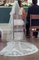One-tier Lace Applique Edge Cathedral Bridal Veils With Applique (006125300)