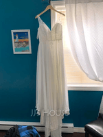 A-Line V-neck Sweep Train Chiffon Wedding Dress With Beading Sequins Split Front (002186375)