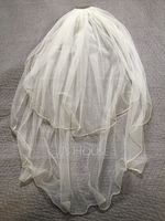 Two-tier Cut Edge Elbow Bridal Veils With Rhinestones (006150924)