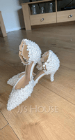 Women's Patent Leather Stiletto Heel Pumps Sandals With Feather Rhinestone Sequin Lace-up (047107283)
