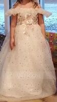 A-Line Floor-length Flower Girl Dress - Tulle/Sequined Sleeveless Off-the-Shoulder With Lace (010217272)
