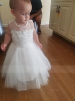 Knee-length Flower Girl Dress - Satin Tulle Lace Sleeveless Scoop Neck With Back Hole (269250577)