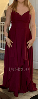 A-Line V-neck Floor-Length Bridesmaid Dress With Ruffle (007251595)