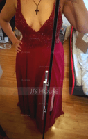 A-Line V-neck Floor-Length Chiffon Bridesmaid Dress With Lace Sequins Split Front (007230688)