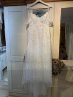 A-Line Off-the-Shoulder Sweep Train Tulle Lace Wedding Dress With Beading (002234897)