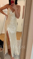 Trumpet/Mermaid V-neck Sweep Train Sequined Evening Dress With Split Front (017219925)