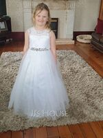 Ball-Gown/Princess Floor-length Flower Girl Dress - Tulle/Lace Sleeveless Scoop Neck With Beading/Bow(s)/V Back (010254251)