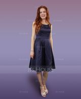 A-Line/Princess Scoop Neck Knee-Length Satin Bridesmaid Dress With Cascading Ruffles (007104719)