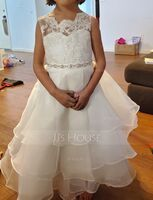 Tea-length Flower Girl Dress - Organza Lace Sleeveless Scoop Neck With Beading Rhinestone (269201842)