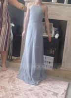 A-Line Scoop Neck Floor-Length Chiffon Junior Bridesmaid Dress (009173316)