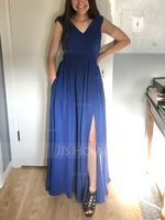 Off-the-Shoulder Floor-Length Chiffon Bridesmaid Dress With Ruffle Split Front Pockets (266224317)