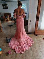 Trumpet/Mermaid Off-the-Shoulder Court Train Chiffon Lace Prom Dresses With Beading Sequins (272194711)