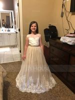 Floor-length Flower Girl Dress - Satin Tulle Lace Sleeveless Scoop Neck With Rhinestone (269193759)