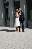 A-Line Illusion Asymmetrical Tulle Wedding Dress With Ruffle (002121314)