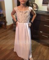 Floor-length Flower Girl Dress - Chiffon Lace Sleeveless Square Neckline With Lace Appliques (269193711)