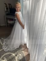 Ball-Gown/Princess Floor-length Flower Girl Dress - Tulle/Lace Sleeveless Scoop Neck With Sash/Beading/Appliques/Bow(s) (Petticoat NOT included) (010104226)