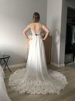 V-neck Sweep Train Chiffon Lace Wedding Dress With Beading Sequins (265255982)
