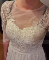 A-Line Knee-Length Chiffon Lace Wedding Dress With Sequins (002234895)