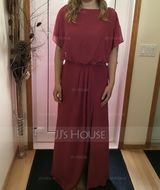 Sheath/Column Scoop Neck Floor-Length Chiffon Bridesmaid Dress With Ruffle Split Front (007176775)