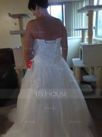 Ball-Gown Sweetheart Chapel Train Tulle Wedding Dress With Beading Flower(s) Sequins (002056469)