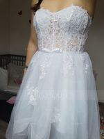 A-Line Sweetheart Asymmetrical Tulle Wedding Dress With Beading Sequins Bow(s) (002145319)