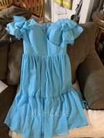 A-Line V-neck Knee-Length Chiffon Cocktail Dress With Bow(s) Cascading Ruffles (016252920)