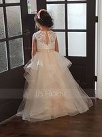 Ball-Gown/Princess Floor-length Flower Girl Dress - Tulle/Lace Sleeveless Scoop Neck (010192413)