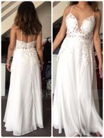 A-Line V-neck Floor-Length Chiffon Prom Dresses With Beading Sequins Split Front (272250558)