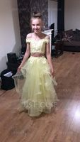 A-Line/Princess Off-the-Shoulder Floor-Length Tulle Prom Dresses With Sequins (018146356)