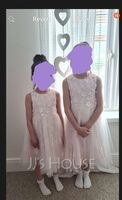 A-Line Tea-length Flower Girl Dress - Tulle/Lace Sleeveless Scoop Neck With Beading/Flower(s) (010172358)