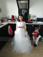 Ball Gown Sweep Train Flower Girl Dress - Tulle/Lace 1/2 Sleeves Off-the-Shoulder With Sash/Bow(s) (Petticoat NOT included) (010104227)