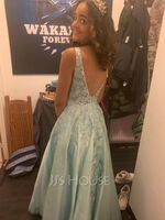 A-Line V-neck Floor-Length Satin Prom Dresses With Lace Sequins (018220242)