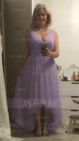 V-neck Asymmetrical Tulle Bridesmaid Dress (266213350)