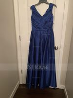 A-Line/Princess Off-the-Shoulder Floor-Length Satin Bridesmaid Dress With Ruffle Pockets (007153324)
