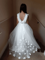 Ball-Gown/Princess Sweep Train Flower Girl Dress - Tulle/Lace Sleeveless Scoop Neck With Flower(s) (010211709)