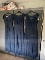 A-Line/Princess Scoop Neck Floor-Length Chiffon Lace Bridesmaid Dress With Bow(s) (266177115)