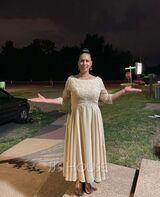 A-Line Scoop Neck Tea-Length Chiffon Lace Mother of the Bride Dress With Sequins (008235564)