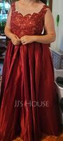 Ball-Gown/Princess Scoop Neck Floor-Length Satin Prom Dresses With Sequins (272262927)
