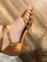 Women's Satin Heels Sandals Latin With Ankle Strap Dance Shoes (053088016)