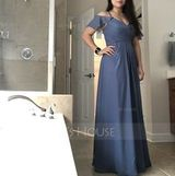 A-Line V-neck Floor-Length Chiffon Bridesmaid Dress With Split Front Cascading Ruffles (007190714)