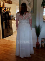 A-Line V-neck Floor-Length Chiffon Lace Wedding Dress With Lace (002250144)