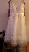 A-Line/Princess V-neck Tea-Length Tulle Wedding Dress With Beading Appliques Lace Sequins (002084737)