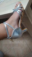 Women's Satin Leatherette Heels Sandals Latin With Ankle Strap Hollow-out Dance Shoes (053111419)