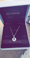[Free Shipping]Custom Sterling Silver Circle Projection Photo Necklace With Four Little Heart - Mother's Day Gifts (288234230)