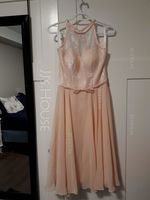A-Line/Princess Scoop Neck Knee-Length Chiffon Lace Bridesmaid Dress With Bow(s) (266183763)