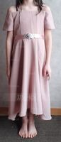 A-Line Off-the-Shoulder Asymmetrical Chiffon Junior Bridesmaid Dress With Beading Bow(s) (009173279)