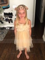 Knee-length Flower Girl Dress - Tulle Sleeveless Straps With Beading (269193576)