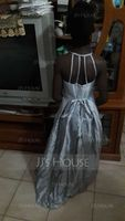 Scoop Neck Floor-Length Taffeta Junior Bridesmaid Dress With Beading Bow(s) (268203609)